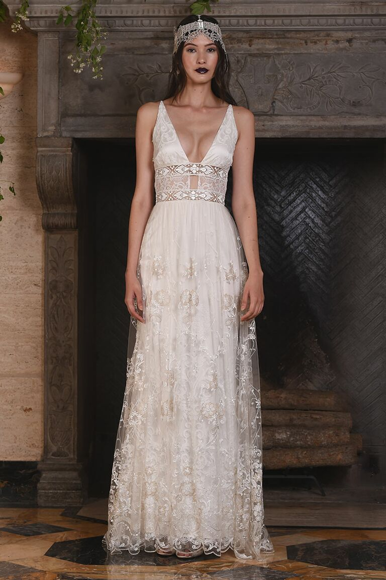 Claire pettibone fall 2017 collection bridal fashion week photos claire pettibone wedding dress with plunging neckline for fall 2017 junglespirit Images