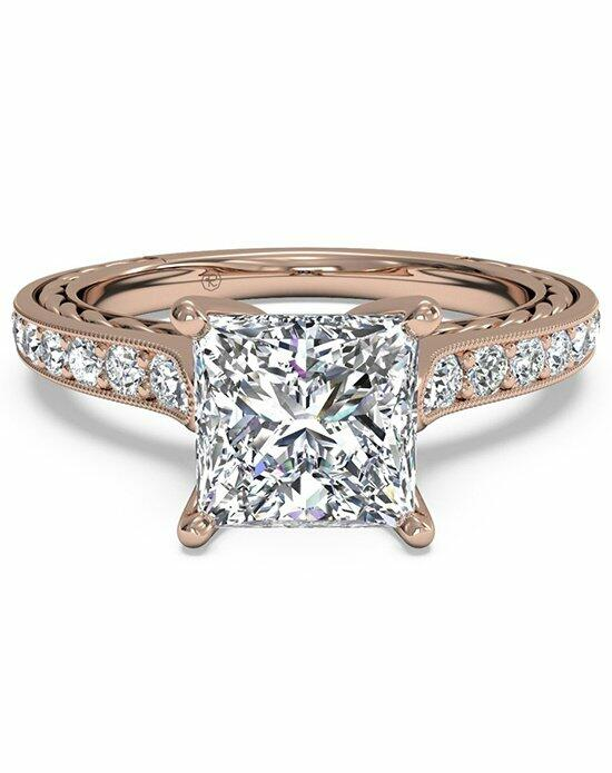 Ritani Princess Cut Micropave Braided Diamond Band Engagement Ring with Milgrain Finish in 18kt Rose Gold (0.25 CTW) Engagement Ring photo