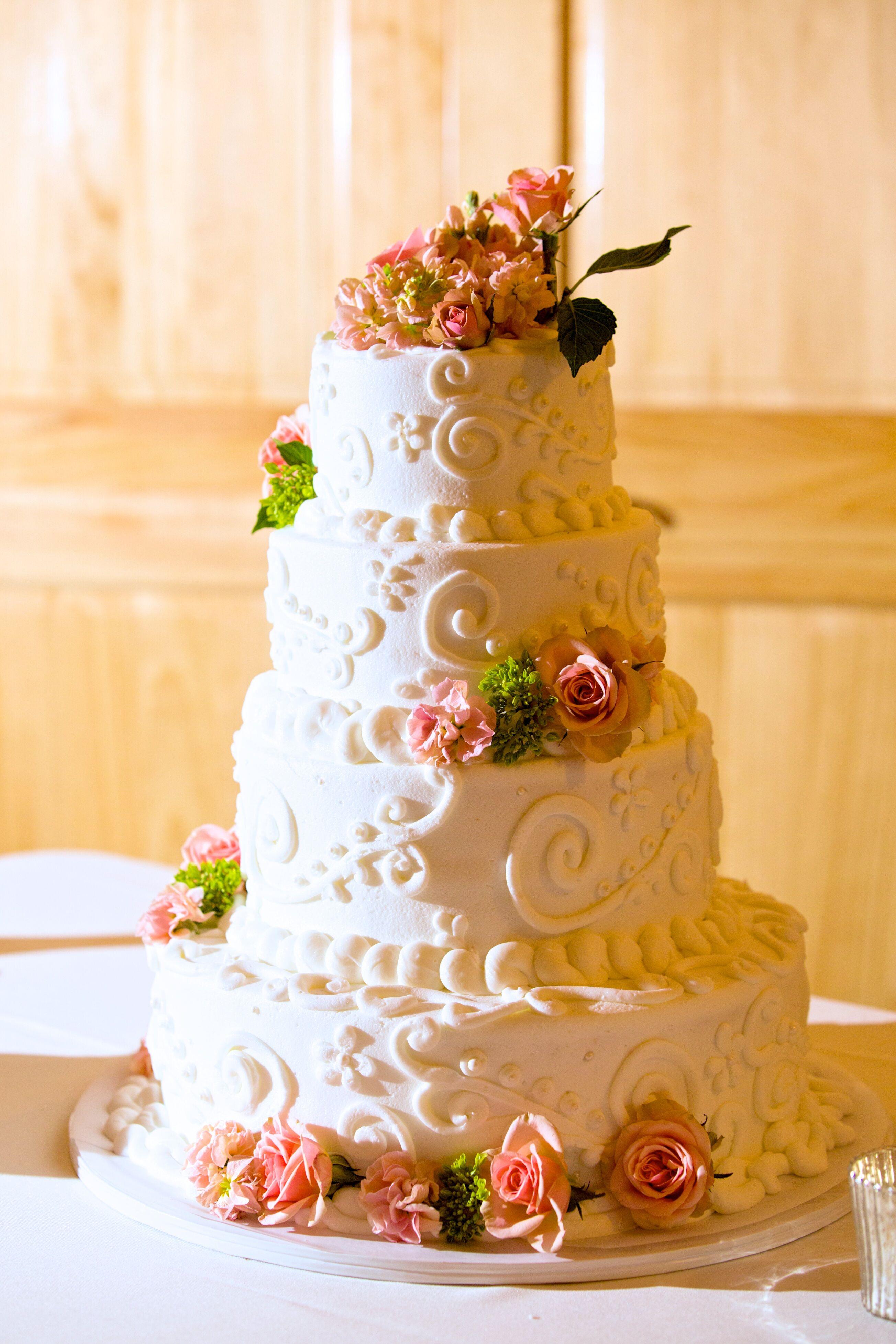 White Lisianthus-Topped Textured White Buttercream Wedding