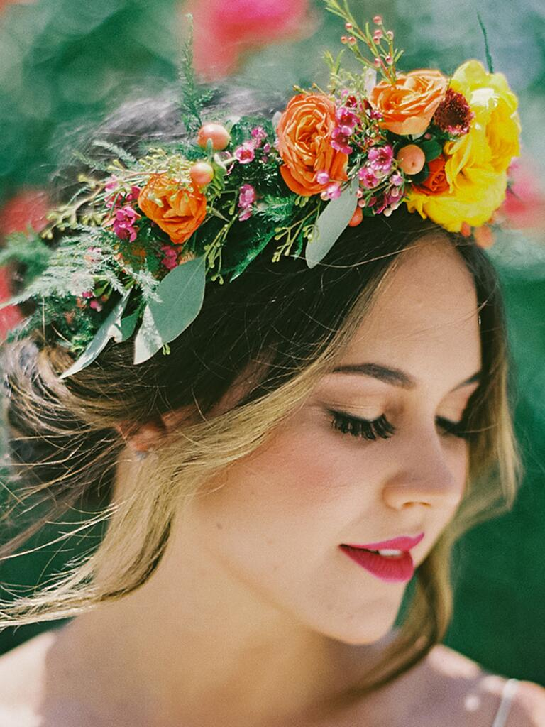 Bright bohemian flower crown with orange and yellow roses