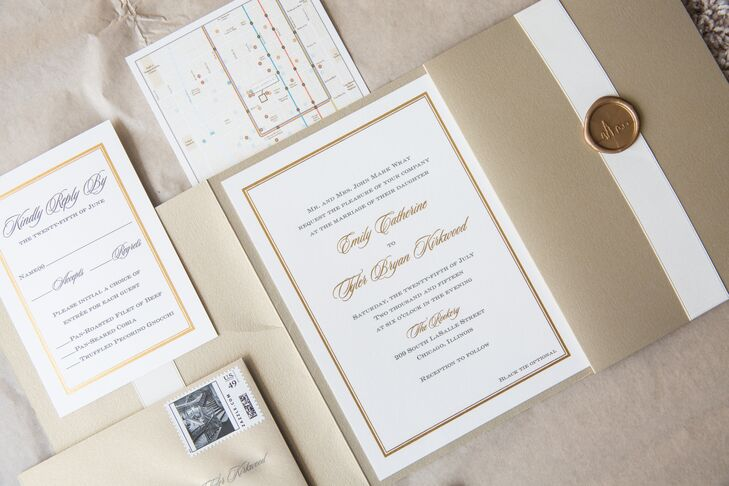 As a nod to Emily and Tyler's elegant venue, gold and white invitations incorporated illustrated stamps that depicted the Rookery's staircase.