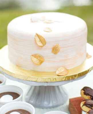 single layer gold leaf wedding cake |<img class=