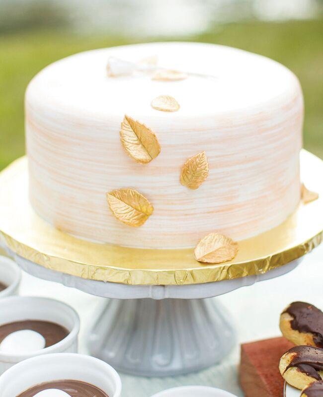 Single Layer Gold Leaf Wedding Cake