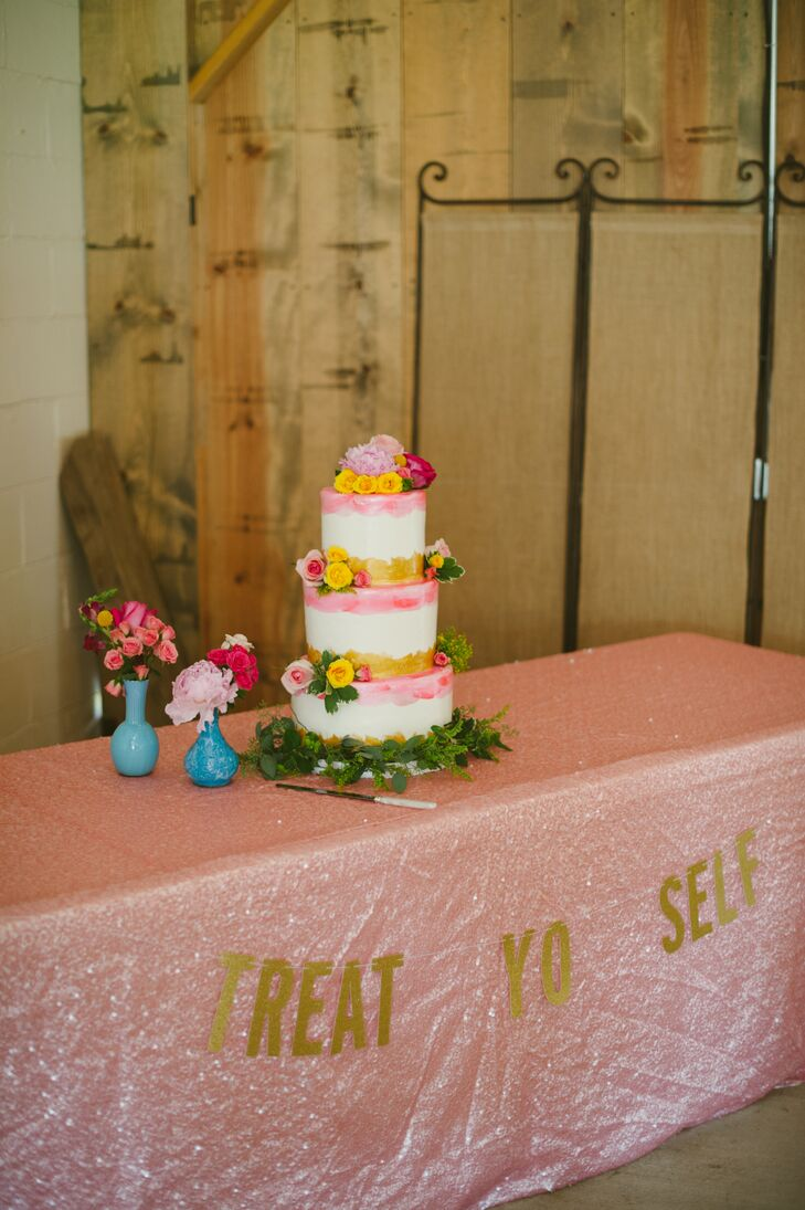 "Lauren's childhood neighbor handmade the pink linens covering the dessert table, with a gold sign draped across the front that spelled out ""Treat Yo Self""—a reference to ""Parks and Recreation,"" one of Lauren and Brian's favorite TV shows."