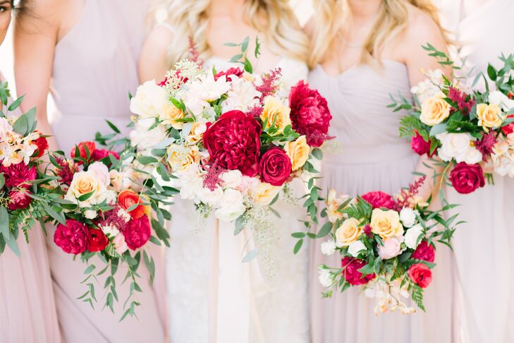 Red and Yellow Bridal Bouquet with Garden Roses