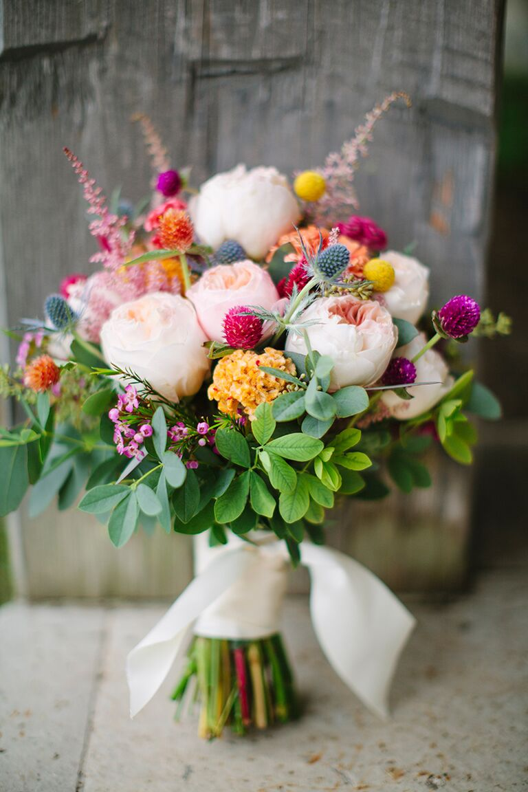 bright fall wedding bouquet with garden roses thistle and red clovers - Red Garden Rose Bouquet