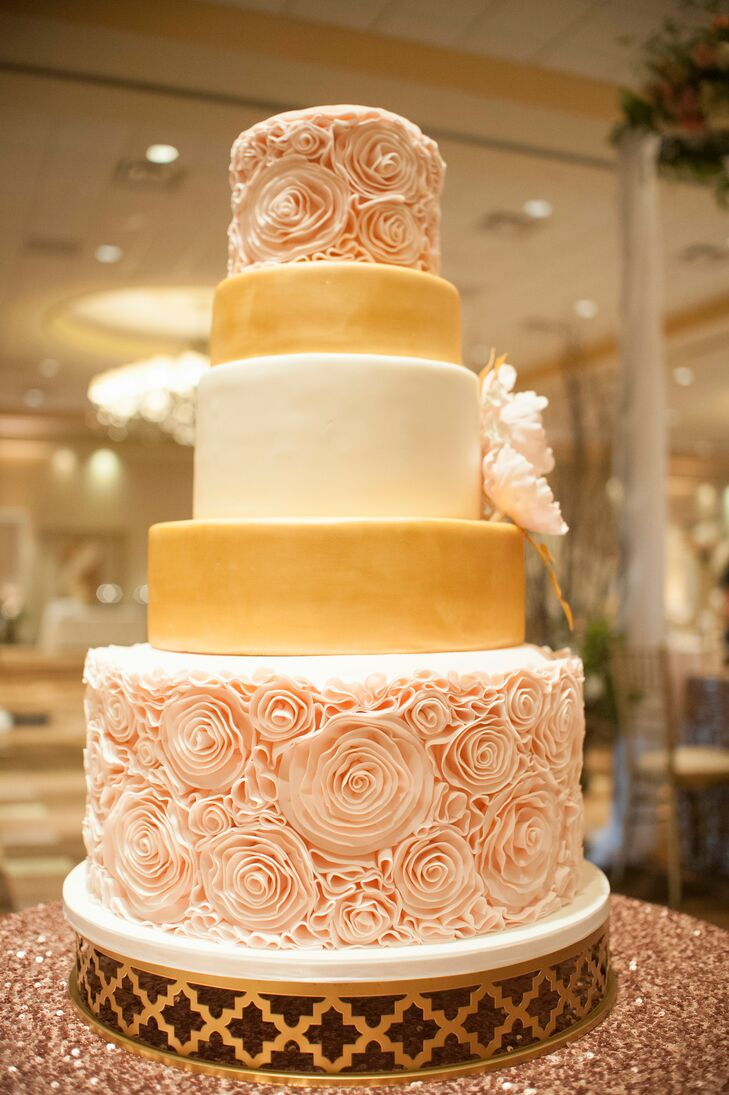 Blush Fondant Rosette Wedding Cake