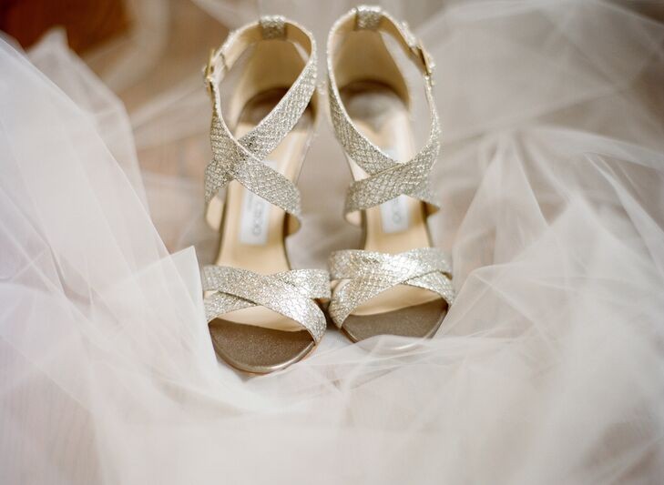 Jimmy Choo Strappy Gold Bridal Heels