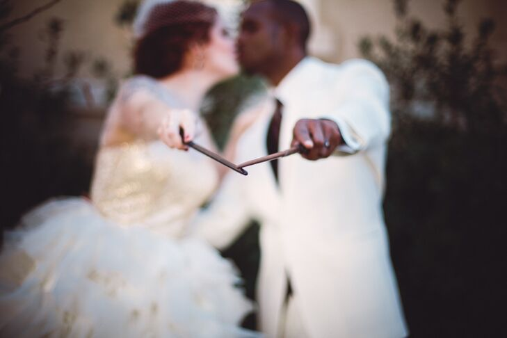 Bride and Groom with Harry Potter Wizard Wands
