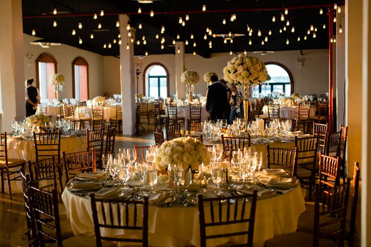 Elegant Reception Set Up with Hanging Edison Bulbs