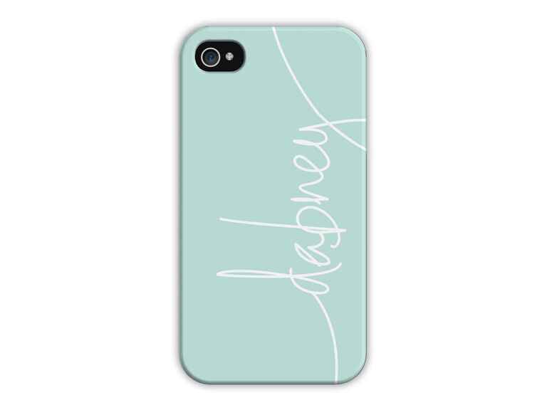 Personalized mint green iPhone case