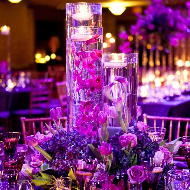 Purple Floating Candle Centerpiece : Purple floral centerpieces