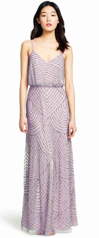 purple bridesmaid dress by Adrianna Papell