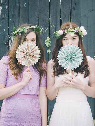 Straight hairstyle with boho ivy flower crowns