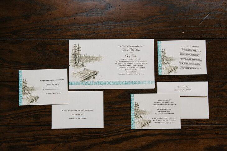 Alissa and Greg's wedding invitations hinted at they day's lakeside location with a small dock and trees in the background.