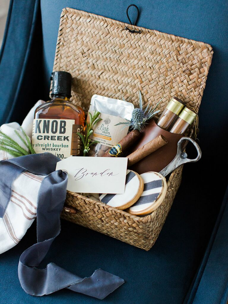 How to put together the perfect gift baskets groomsman gift basket with knob creek whiskey and cigars by marigold and grey sciox Choice Image