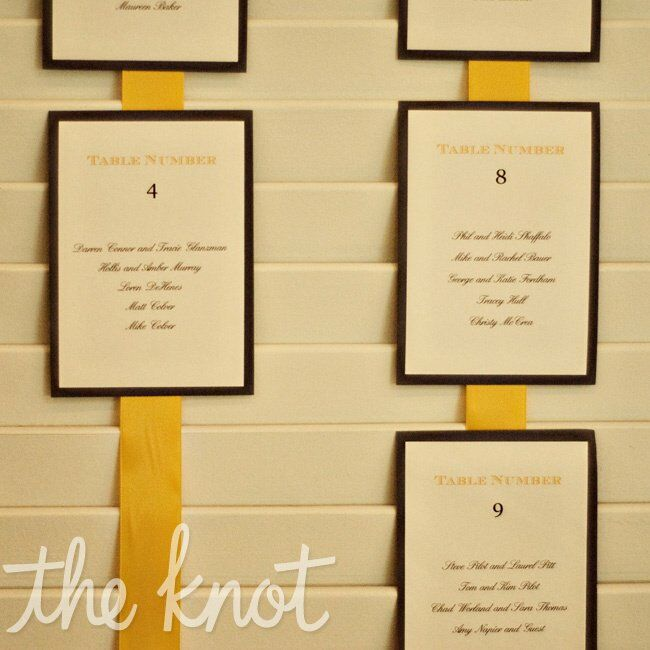 Amy And Jason Printed Seating Cards Hung Them On Yellow Ribbon From White Shutters