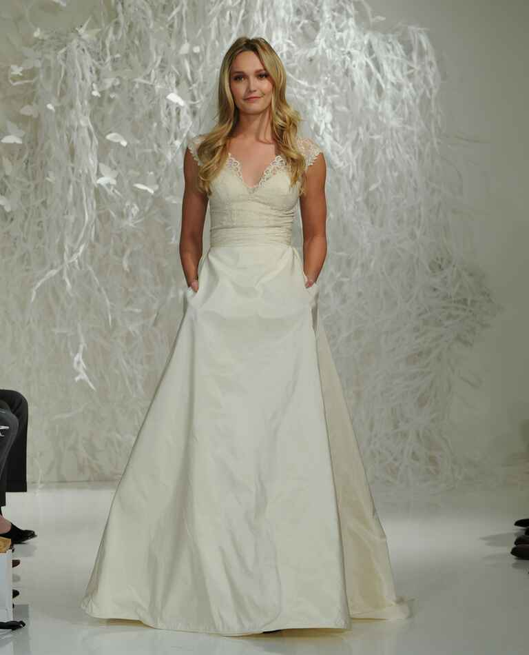 Watters Fall 2016 champagne ball gown wedding dress with lace V-neckline