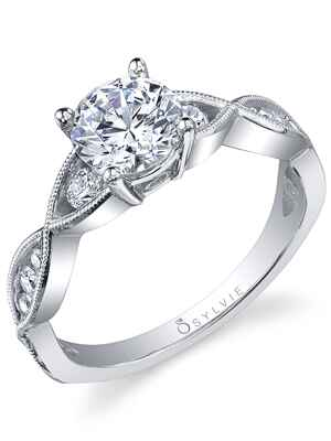 Sylvie Collection lace engagement ring