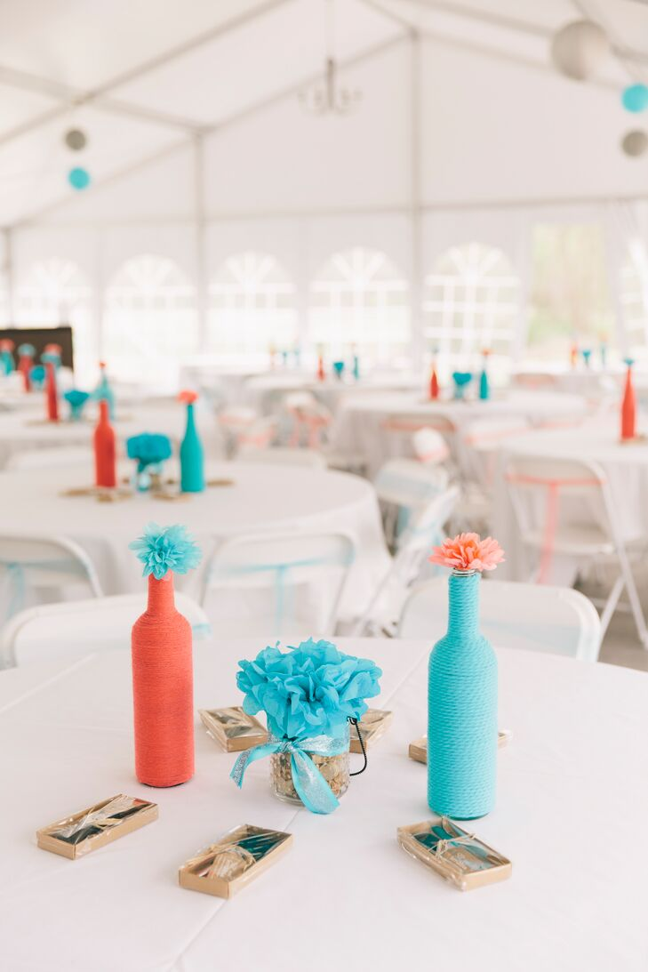 Simple Turquoise and Coral Carnation Centerpieces