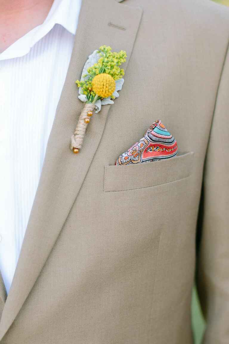 Bright pocket square for the groom
