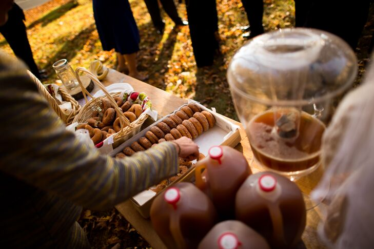 While guests were signing the marriage certificate, apple cider and cider donuts were served.