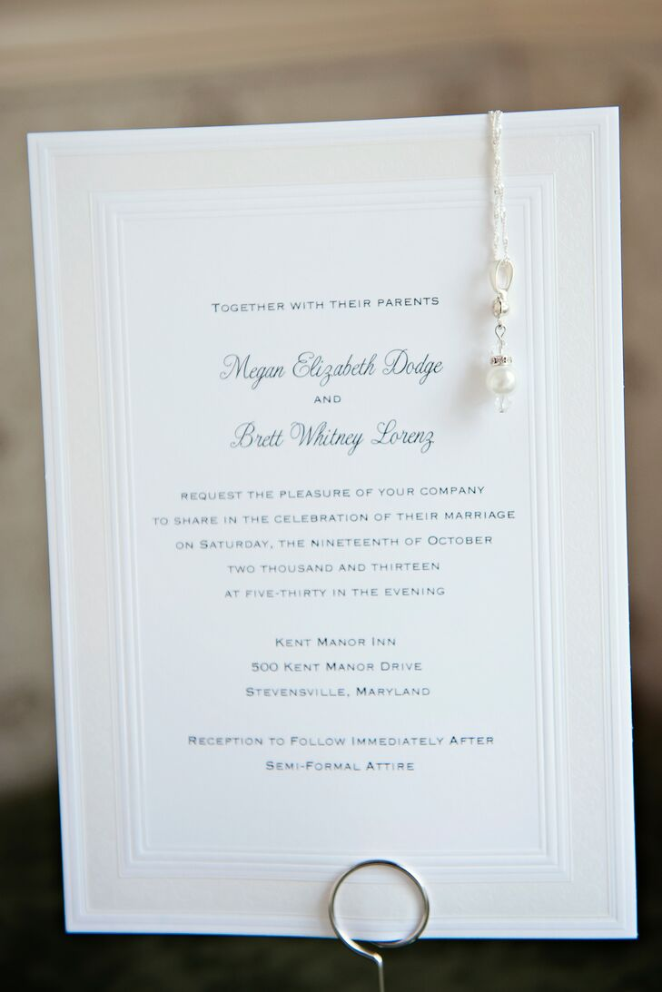 Simple White Invitations With Single Bead