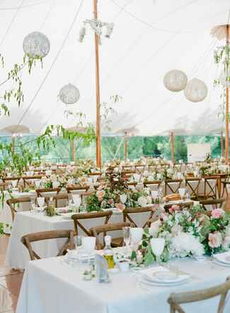 Classic wedding reception with hanging lanterns