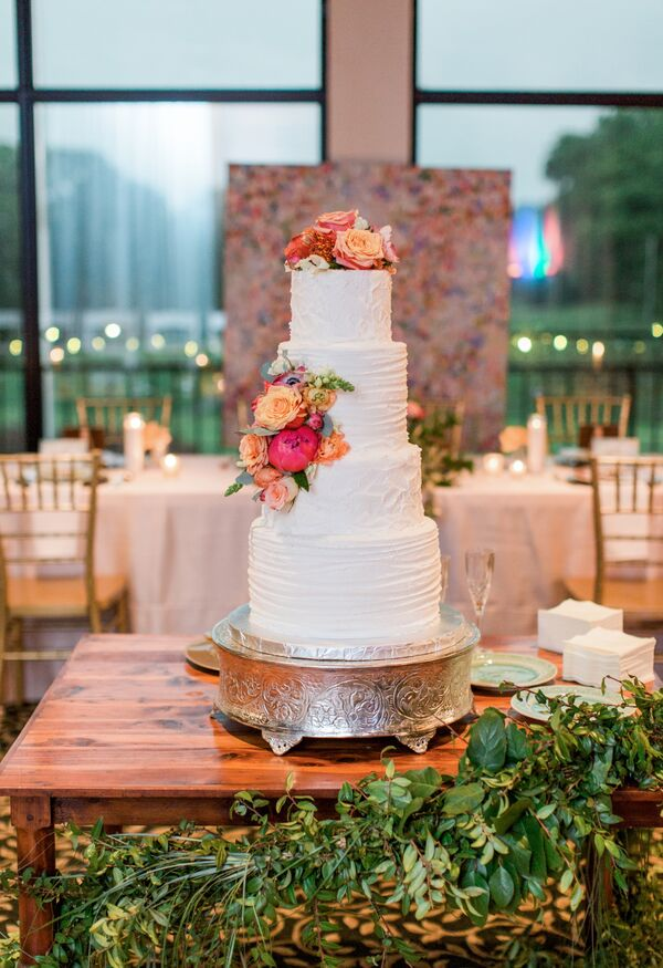 Textured Four-Tier Buttercream Cake with Peach Flowers