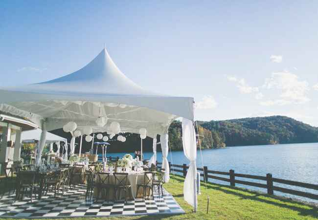 Tented Lakeside Reception | The Shultzes | The Knot Blog