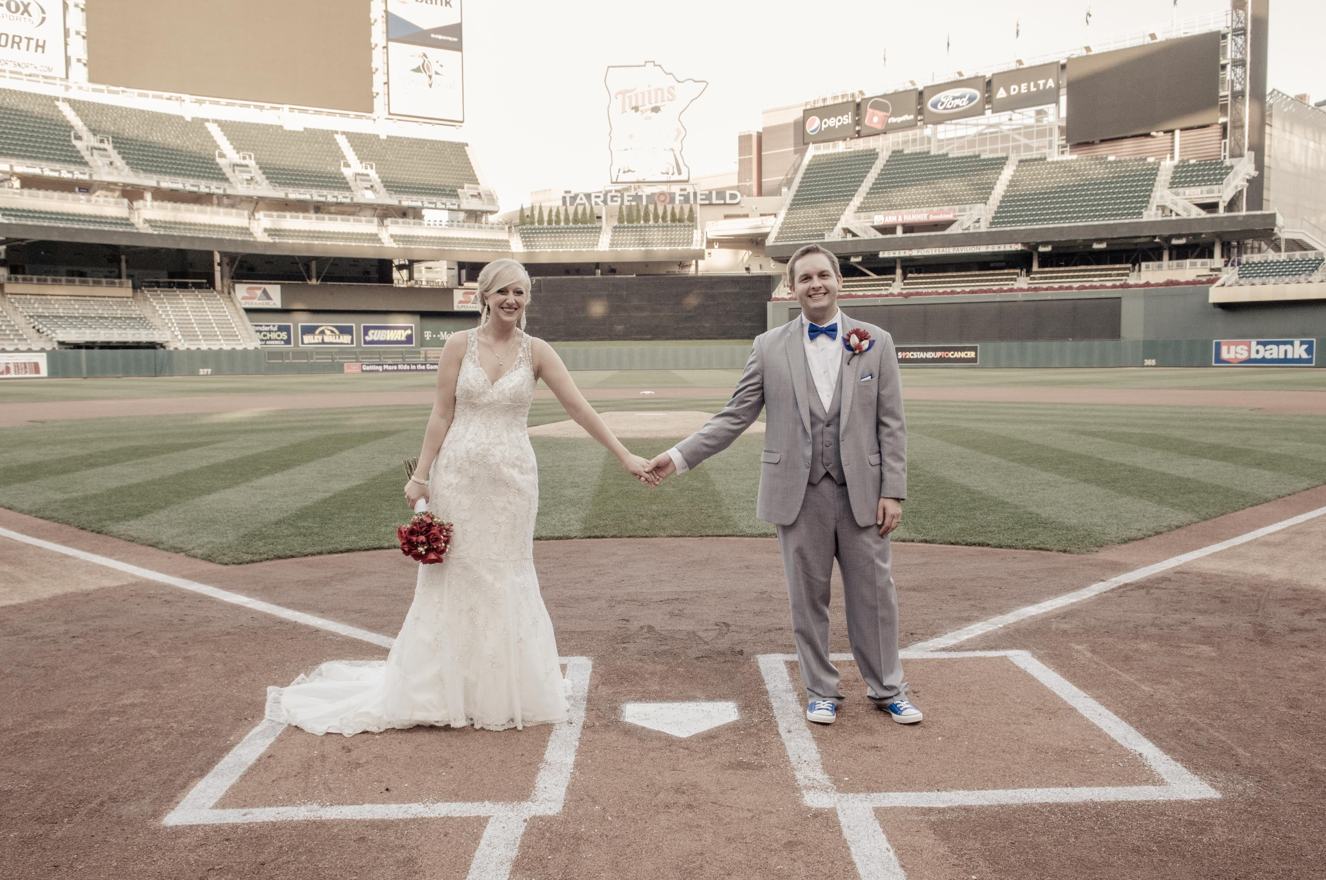 a fun baseball stadium wedding at target field in