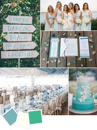 Sea glass blue and green beach wedding colors