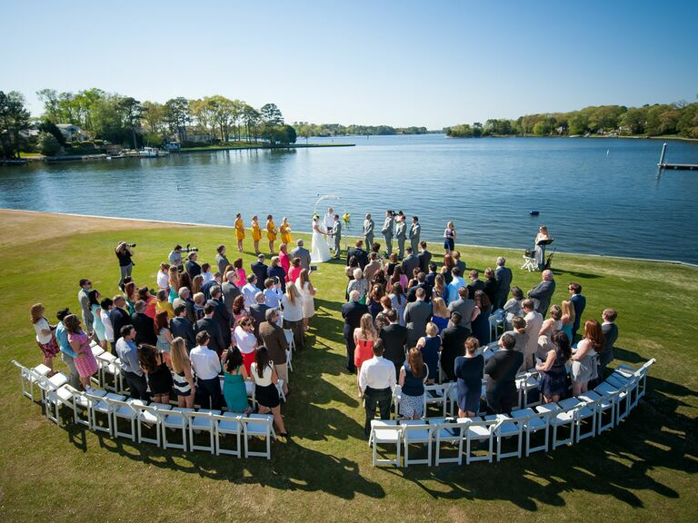 Drone wedding photography, aerial ceremony shot