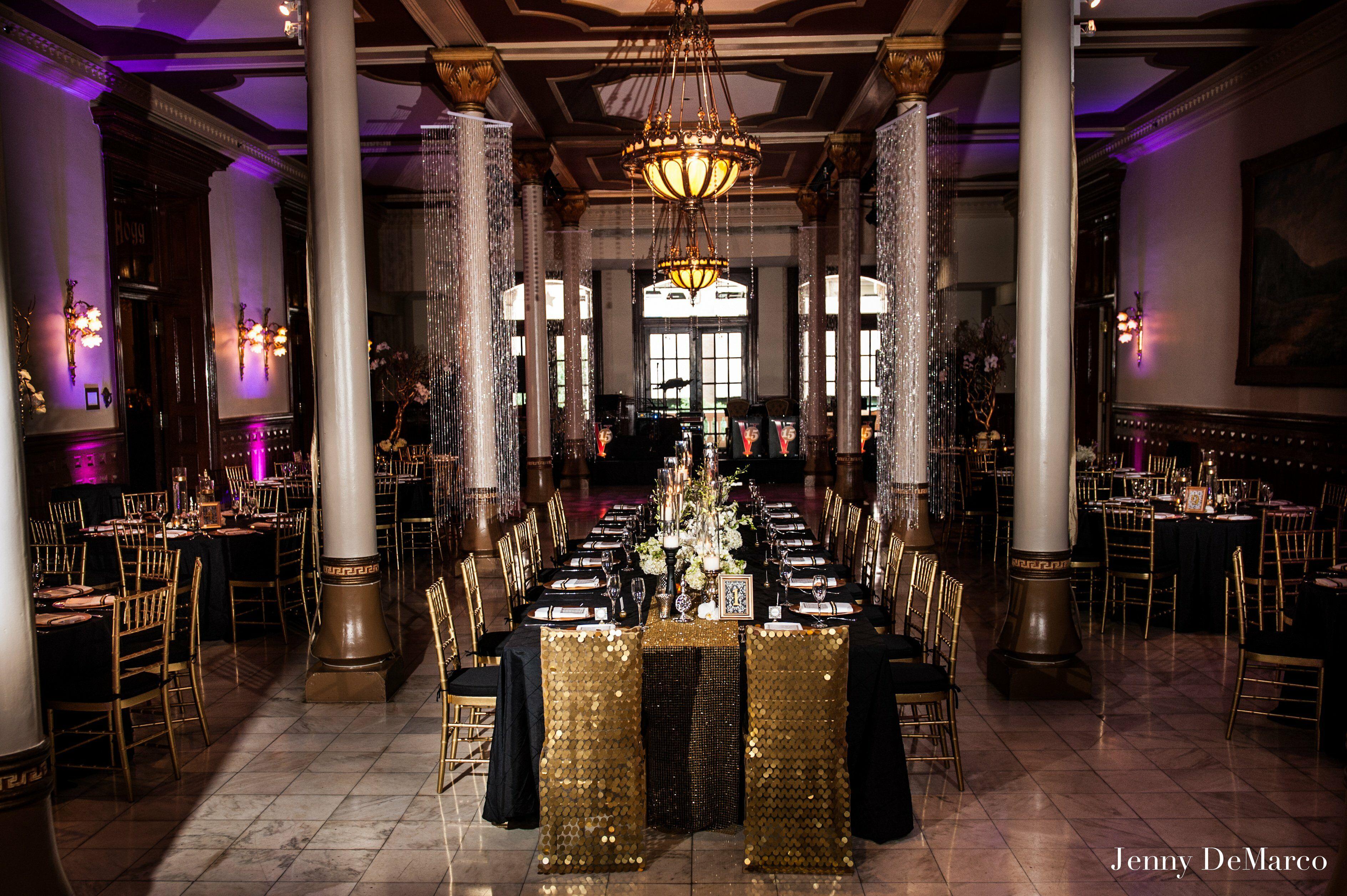 black and gold reception decor
