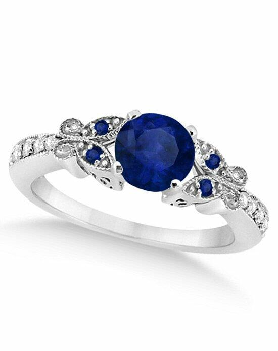 Allurez - Customized Rings Butterfly Blue Sapphire & Diamond Engagement Ring 14K W. Gold 1.28ct Engagement Ring photo