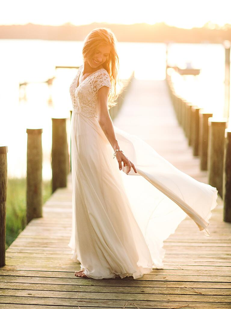 Lace wedding dress by BHLDN with cap sleeves