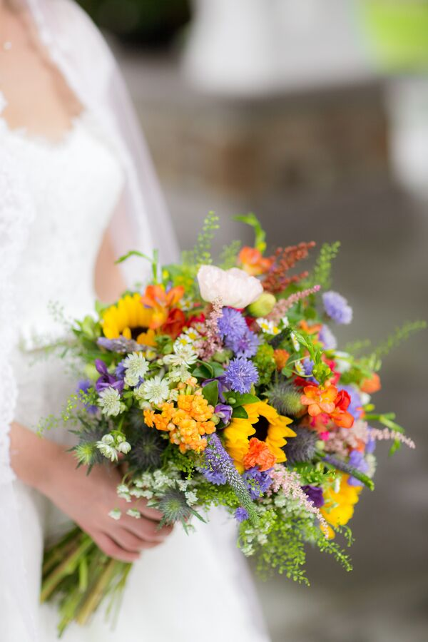 Colorful Sunflower Thistle And Wildflower Bouquet
