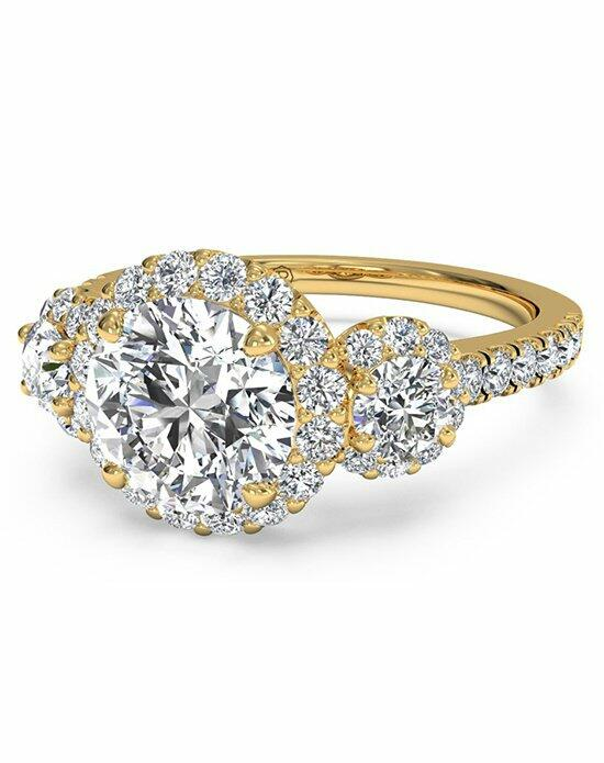 Ritani Round Cut Three-Stone Halo Diamond Engagement Ring in 18kt Yellow Gold (0.75 CTW) Engagement Ring photo