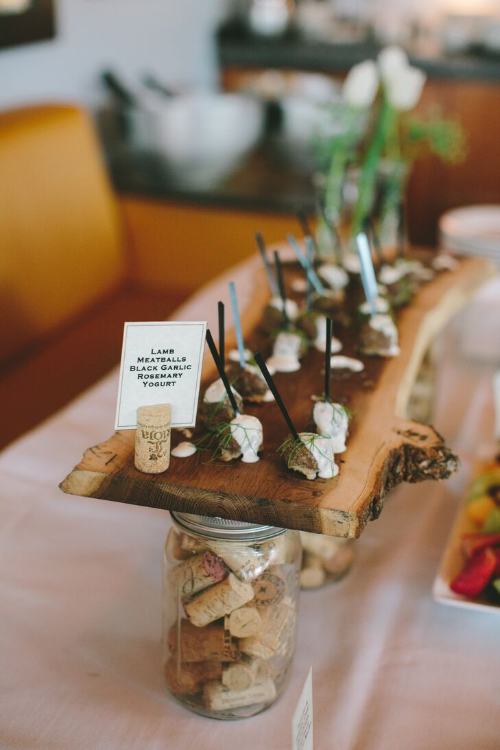 After the ceremony, Meghan and Camron gathered with 18 of their closest friends and family for dinner. Before dinner, they served delicious hors d'oeurvres, including theme lamb meatballs topped with a rosemary yogurt glaze. Yum!