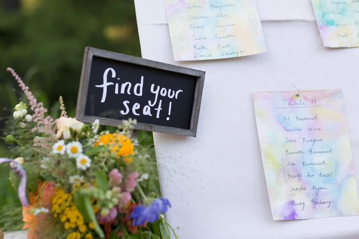 A small chalkboard sign with Find Your Seat! was displayed on the escort card table.