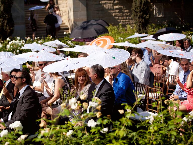 Wedding guests with parasols