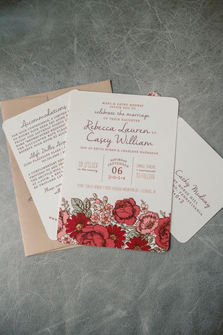burgundy and pink floral wedding invitations, Wedding invitations