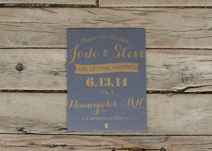 "Local Minneapolis shop Font Love created these gold letterpress wedding invitations on charcoal-colored paper. ""The owner really listened to my vision and designed everything beautifully,"" Jodi says."