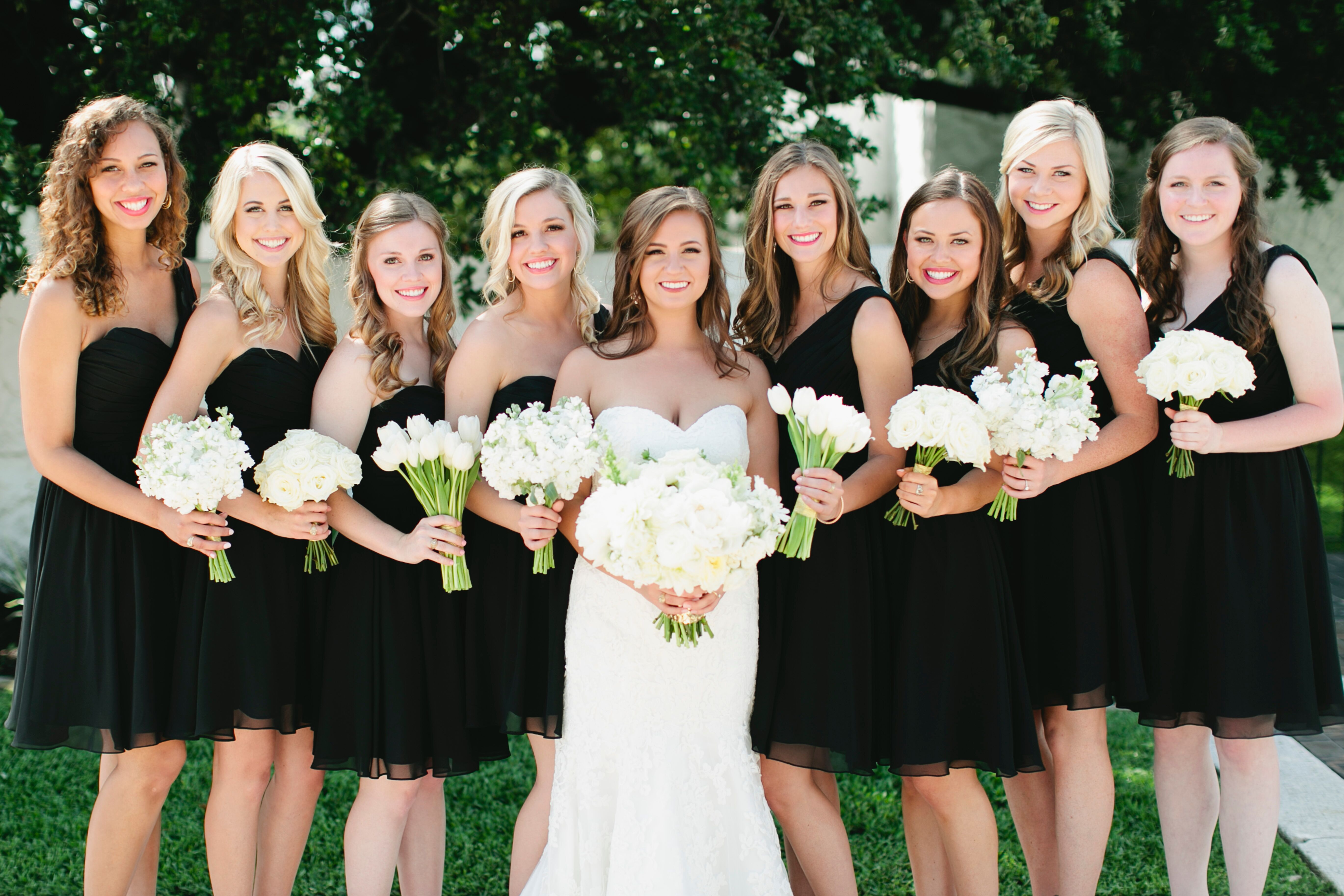 Short black bridesmaid dresses with white bouquets ombrellifo Image collections
