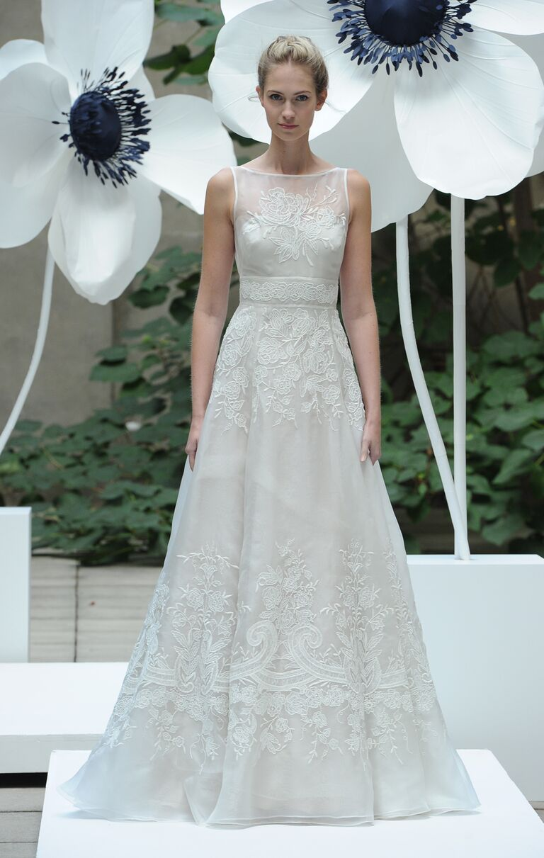 Lela Rose Fall 2016 Sleeveless A Line Wedding Dress With Embroidered Overlay