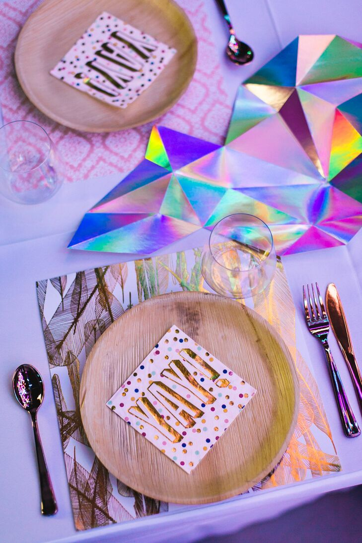 Recyclable Plates and Silverware with Geometric Cutout Table Décor