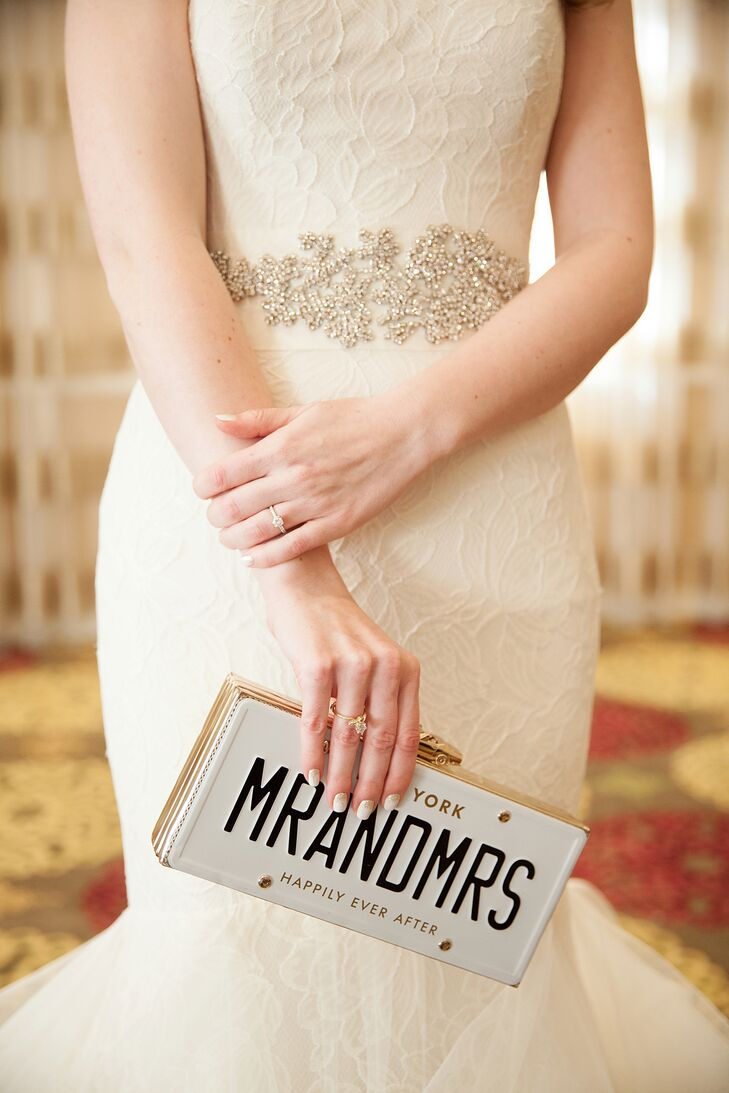 Bride in a Beaded Belt and a Kate Spade Clutch