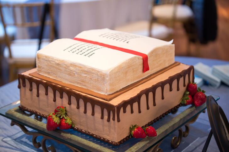 Two Tier Bible Verse Grooms Cake