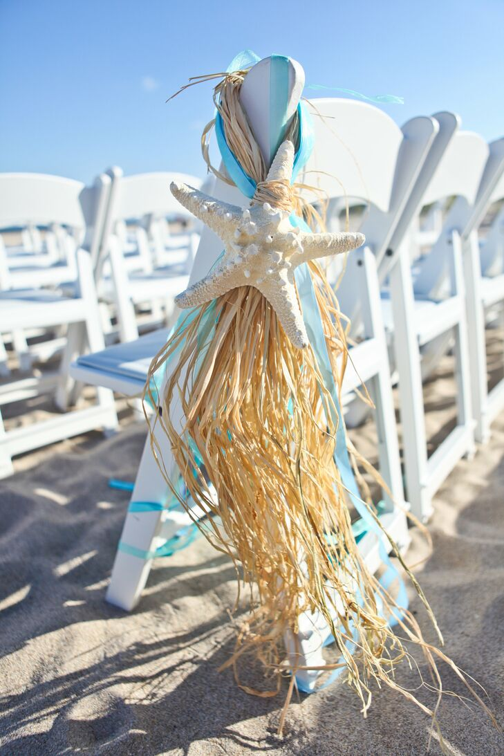 Starfish Aisle Decor With Straw, Ribbon