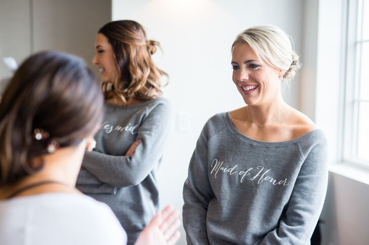 "Gray slouchy oversized ""Bridesmaid"" sweatshirts were cute and comfortable getting-ready gifts for the women in the wedding party."